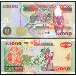 ZAMBIA 1000 KWACHA 1992 AGUILA SOBRE RAMA Pick 40A BILLETE SC Africa UNC BANKNOTE