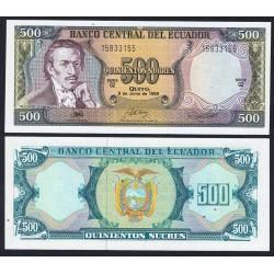 ECUADOR 500 SUCRES 1988 EUGENIO DE SANTA CRUZ Pick 124AA BILLETE SC UNC BANKNOTE