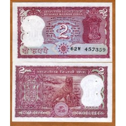 INDIA 2 RUPIAS 1985 TIGRE DE BENGALA Pick 53AC Firma 85 BILLETE SC @AGUJERITOS DE GRAPAS@ UNC BANKNOTE