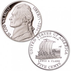 ESTADOS UNIDOS 5 CENTAVOS 2004 S LEWIS y CLARK + LOUISIANA PROOF