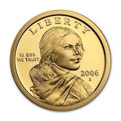 ESTADOS UNIDOS 1 DOLAR 2006 S INDIA SACAGAWEA KM.310 MONEDA DE LATON PROOF US $1 Dollar from teh Mint Set