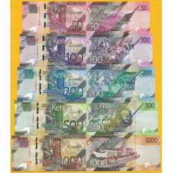 5 billetes x KENYA 50+100+200+500+1000 SHILINGI 2019 NUEVO DISEÑO Pick 52/56 SC Africa UNC BANKNOTE Shillingi Hamsini
