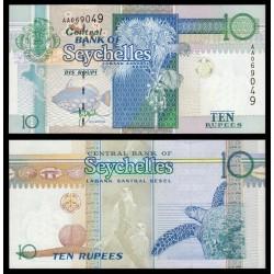 SEYCHELLES 10 RUPIAS 2008 PEZ, MAPA, PLAMERA, TORTUGA y AVES Pick 36A BILLETE SC 10 Rupees UNC BANKNOTE
