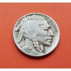 ESTADOS UNIDOS 5 CENTAVOS 1930 BUFFALO e INDIO NATIVO KM.134 MONEDA DE NICKEL MBC- USA 5 Cent coin