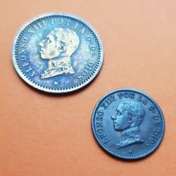 2 monedas x ESPAÑA Rey ALFONSO XIII 1 CENTIMO 1906 * 6 SLV + 2 CENTIMOS 1912 * 12 PCV COBRE MBC+ Ref/2