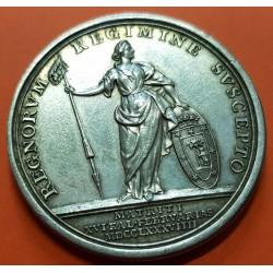 .ESPAÑA Rey CARLOS III MEDALLA DE PROCLAMACION 1789 modulo 4 REALES en MADRID PLATA Carolus IV