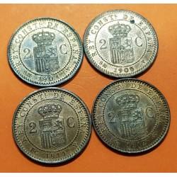 4 monedas x ESPAÑA Rey ALFONSO XIII 2 CENTIMOS 1904+1905+1911+1912 SMV y PCV KM.722 y KM.732 COBRE @LUJO@