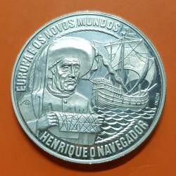 PORTUGAL 25 ECU 1991 ENRIQUE EL NAVEGANTE y CARABELA MONEDA DE PLATA PROOF 25 Ecus HENRIQUE O NAVEGADOR