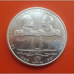 PORTUGAL 1000 ESCUDOS 1997 REYES ALBERTO y CARLOS I BARCO AMELIA KM.965 MONEDA DE PLATA SC