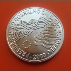 PORTUGAL 1000 ESCUDOS 2000 PRESIDENCIA DEL CONSEJO DE LA UNION EUROPA KM.724 MONEDA DE PLATA SC Silver