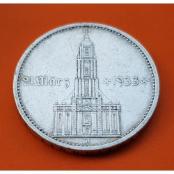ALEMANIA 5 MARCOS 1934 A IGLESIA DE POSTDAM y LEYENDA CON ESVASTICAS NAZI III REICH KM.82 MONEDA DE PLATA Germany 5 Reichsmark 2