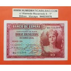 ESPAÑA 10 PESETAS 1935 DAMA Serie B 0733394 Pick 86 BILLETE EBC II REPUBLICA ESPAÑOLA