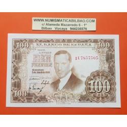 ESPAÑA 100 PESETAS 1953 JULIO ROMERO DE TORRES Serie 1U Pick 145 BILLETE SIN CIRCULAR SC PLANCHA Spain banknote