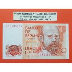 .@RARA SERIE 9A@ ESPAÑA 200 PESETAS 1980 LEOPOLDO ALAS CLARIN Serie 9A 0309355 Pick 156 BILLETE SIN CIRCULAR SC Spain banknote