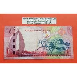 BAHRAIN 1 DINAR 2008 CABALLOS SALVAJES Pick 26 BILLETE MUY CIRCULADO Central Bank BANKNOTE