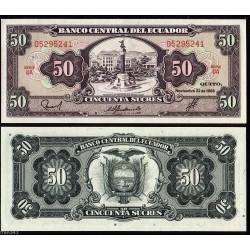 ECUADOR 50 SUCRES 22.11.1988 MONUMENTO EN QUITO Pick 122A BILLETE SC BANKNOTE UNC