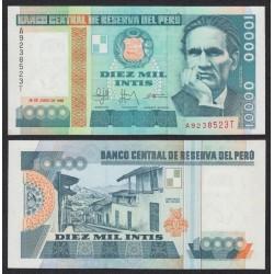 @OFERTA@ PERU 10000 INTIS 1988 CESAR ALLEJO y BARRIO SANTIAGO DE CHUCO Pick 140 BILLETE SC UNC BANKNOTE