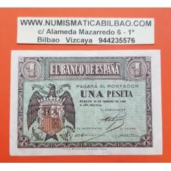 ESPAÑA 1 PESETA 1938 FEBRERO 28 BURGOS AGUILA Color VERDE Serie D 8251516 Pick 107 BILLETE EBC Spain banknote