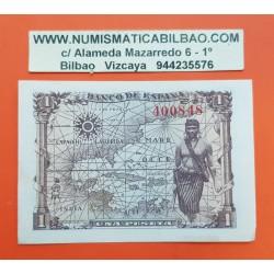 ESPAÑA 1 PESETA 1945 REINA ISABEL LA CATOLICA SIN SERIE 400848 Pick 128 BILLETE SC @SOMBRAS - RARO@ Spain