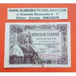ESPAÑA 1 PESETA 1945 REINA ISABEL LA CATOLICA Serie F 2359963 Pick 128 BILLETE MBC- Spain banknote