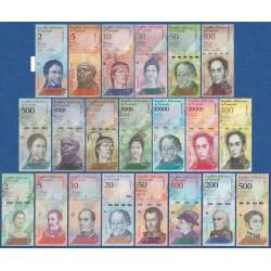 21 billetes x VENEZUELA 2 BOLIVARES a 100000 BOLIVARES + 2 SOBERANOS a 500 SOBERANOS 2007 / 2019 SC HIPER INFLACION