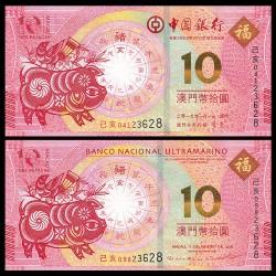 2 billetes x CHINA 10 YUAN 2019 PIck 122 + MACAO 10 PATACAS 2019 Pick 89C AÑO LUNAR DEL CERDO SC UNC BANKNOTE