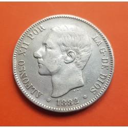 @VARIANTE 3@ ESPAÑA 5 PESETAS 1882 * 18 81 MSM REY ALFONSO XII KM.688 MONEDA DE PLATA (DURO) Spain silver V3
