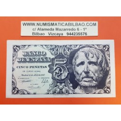 ESPAÑA 5 PESETAS 1947 SENECA Serie D 6025324 Pick 134 BILLETE EBC- Spain banknote