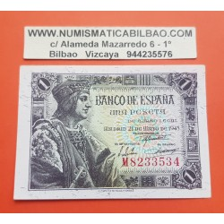ESPAÑA 1 PESETA 1943 MAYO 21 FERNANDO EL CATOLICO Serie I787 EBC