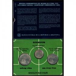3 monedas x ARGENTINA 1000 PESOS + 2000 PESOS + 3000 PESOS 1978 MUNDIAL DE FUTBOL PLATA SC ESTUCHE OFICIAL