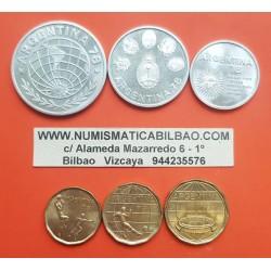 6 monedas x ARGENTINA 20+50+100 PESOS 1977 (LATON) y 1000+2000+3000 PESOS 1977 (PLATA) MUNDIAL DE FUTBOL 1978 SC