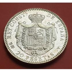 . ESPAÑA 20 PESETAS 1890 * 18 90 MPM ALFONSO XIII ORO SC Gold