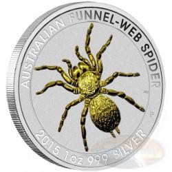 AUSTRALIA 1 DOLAR 2015 @BAÑO DE ORO@ ARAÑA FUNNEL-WEB SPIDER MONEDA DE PLATA SC 1 ONZA Oz silver