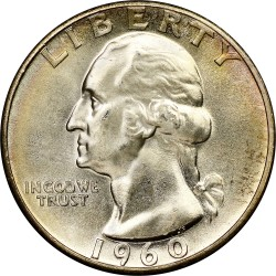 ESTADOS UNIDOS 1/4 DOLAR 1960 PRESIDENTE GEORGE WASHINGTON KM.164 MONEDA DE PLATA SC USA silver Quarter Dollar