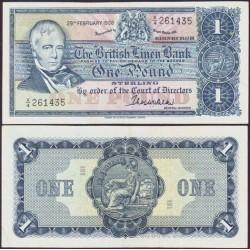 ESCOCIA 1 LIBRA 1968 THE BRITISH LINEN BANK SIR WALTER PICK 169A BILLETE SC SCOTLAND POUND UNC BANKNOTE