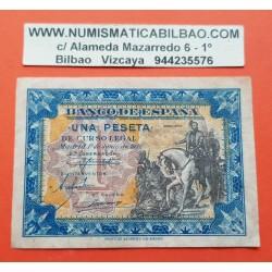 ESPAÑA 1 PESETA 1940 HERNAN CORTES A CABALLO Serie B 6461873 Pick 121 BILLETE MBC+ Spain banknote
