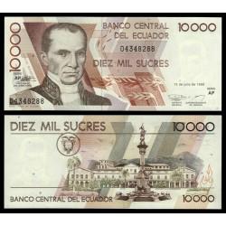 ECUADOR 10000 SUCRES 1999 VICENTE ROCAFUERTE y MONUMENTO A LA INDEPENDENCIA Pick 127E BILLETE SC UNC BANKNOTE