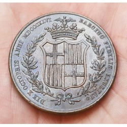 @ESCASA@ ESPAÑA Reina ISABEL II MEDALLA 1846 BARCELONA en su BODA CON FRANCISCO DE ASIS COBRE 22,40 gramos