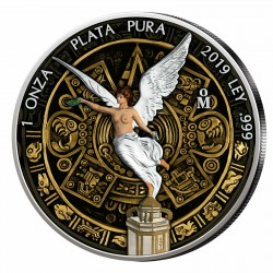 @COLORES@ MEXICO 1 ONZA 2019 ANGEL LIBERTAD y CALENDARIO AZTECA MONEDA DE PLATA SC Mejico silver coin OZ OUNCE COLOURED