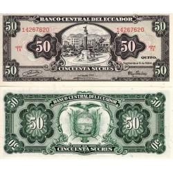 ECUADOR 50 SUCRES 1984 MONUMENTO EN QUITO Firma RICARDO IZURIETA Pick 122A BILLETE SC UNC BANKNOTE