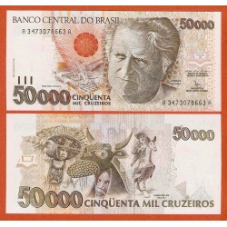 . BRASIL 50 CRUZEIROS sobre CRUZADOS 1990 Pick 223 SC BRAZIL