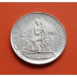 VATICANO 2 LIRAS 1960 PAPA JUAN XXIII LA FORTUNA KM.59 MONEDA DE ALUMINIO SC 2 lire POPE IOANNES XXIII