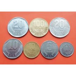 7 monedas x COSTA RICA 1 COLON + 10+20+100 COLONES 1983 / 1998 ESCUDO y VALOR LATON, ACERO y NICKEL EBC