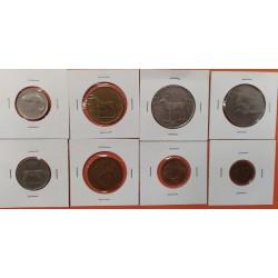 8 monedas x LIBANO 5+10+25+50 PIASTRES 1961/1969 + 1 LIBRA 1975 ARBOL y BARCO LATON y NICKEL MBC+/EBC+