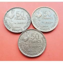 3 monedas x FRANCIA 50 FRANCOS 1951 + 1952 + 1953 GALLO y DAMA Tipo GUIRAUD KM.918.1 LATON MBC+ France 50 Francs