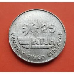"""25 CENTAVOS 1981 INTUR PALMERA ANVERSO CON VALOR """"25"""" KM.418.1 MONEDA DE NICKEL SC-"""