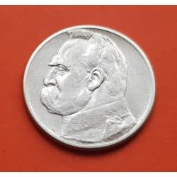 POLONIA 2 ZLOTY 1934 W JOZEF PILSUDSKI y AGUILA KM.27 MONEDA DE PLATA EBC Poland silver 2 Zlotych