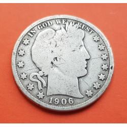 ESTADOS UNIDOS 1/2 DOLAR 1906 BARBER y AGUILA KM.116 MONEDA DE PLATA MBC- @RAYAS@ USA silver Half Dollar
