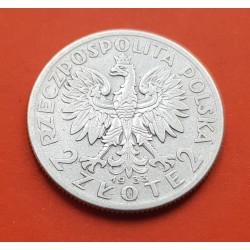 POLONIA 2 ZLOTY 1933 W DAMA y AGUILA KM.20 MONEDA DE PLATA EBC- Poland silver 2 Zlotych