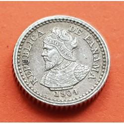 PANAMA 2,50 CENTESIMOS DE BALBOA 1904 VASCO NUÑEZ DE BALBOA KM.1 MONEDA DE PLATA @RARA@ silver coin DOS y MEDIO